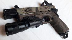 "G17, AA rmr mount, RMR, X300V, 5KU Lantac N9NE barrel, 5KU compensator, guarder thumbrest, ""speedplate"" magbase, grip reduction, triggerguard undercuts, acceleration cut, full grip and triggerguard stippling,front slide serrations. Stippling, Undercut, Edc, Hand Guns, Barrel, Building, Projects, Accessories, Firearms"