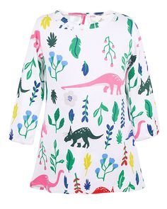 Angel&tribe Girl Long Sleeve Printed Dress Casual T-shirt Nightgown Cartoon Dinosaur 100% Cotton 4T. Material: cotton.Soft and comfortable cotton lining also better protecting the skin of baby girls. So that they can wear this casual dress to play in school,home,garden and so many occasions,It can make your kids look more beautiful in the crowd. Soft jersey lives up to daily adventures and the wash.Length sleeves help keep out the cold.Layer with leggings or jeans on chilly days. Featured...