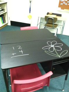 I turned my mis-matched classroom desks into chalkboard desks w/a little bit of paint.. =)
