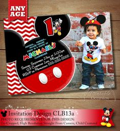 HUGE SELECTION Chevron Mickey Mouse Invitation Mickey