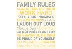 Family Rules Canvas, Grey