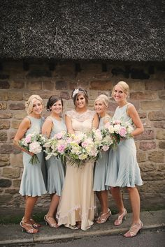 Short Green Bridesmaid Dresses Pink Bouquets Flowers Stylish Pastel Rustic Barn Wedding http://helenrussellphotography.co.uk/