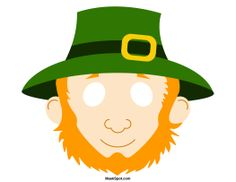 Leprechaun mask templates including a coloring page version of the mask. Free printable PDF at http://maskspot.com/download/leprechaun-mask/