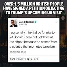 Over 1.5 million British  people have signed a petition objecting to Trump's upcoming visit.