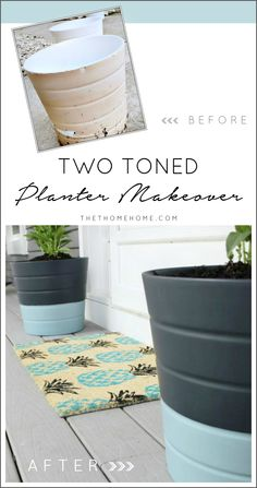 (Tutorial} DIY two toned planter makeover.  The perfect way to refresh your front porch! Painted with Chalkworthy Antiquing Paint. (www.chalkworthy.com)