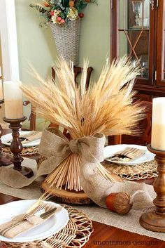 Dollar Store Fall Decor Ideas Anyone Can Make, Fall Table Settings, Thanksgiving Decorations and Pumpkin Makeovers to Decorate your Home for Fall Thanksgiving Table Settings, Thanksgiving Centerpieces, Fall Centerpiece Ideas, Rustic Thanksgiving, Diy Thanksgiving Crafts, Fall Table Settings, Thanksgiving Drinks, Thanksgiving Appetizers, Thanksgiving Turkey