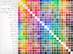 I made one more tool to help mixing the right colours. So how does this work: On the first horizontal and vertical line are all the original colours, where those colours intersect you will get the ...