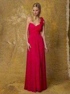 A-line Spaghetti Straps  Hand-Made Flower Sleeveless Floor-length Chiffon Bridesmaid Dresses / Prom Dresses / Evening Dresses