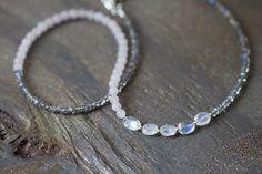 Rose Quartz & Labradorite Necklace with Rainbow Moonstone, Delicate Beaded Multi Gemstone Necklace, Labradorite Jewelry, Rose Quartz Jewelry by MoonLabJewelry on Etsy https://www.etsy.com/listing/237894953/rose-quartz-labradorite-necklace-with