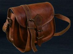 f61bfa8a06 Women Vintage Looking Brown Leather Messenger Cross Body Bag Handmade Purse