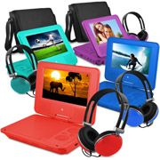 Ematic 7 inch portable dvd player with color headphones and carrying case bundle, Blue Stereo Speakers, Display Resolution, Tv Videos, Portable, Movies And Tv Shows, Carry On, Headphones, Baby, Audio