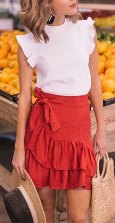 #summer #outfits White Ruffle Tank + Red Ruffle Skirt