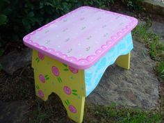 Hand Painted Wooden Footstool by bubblesandcompany on Etsy, $65.00