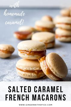Salted Caramel Macarons - when you bite into it, you get that sweet caramel with a hint of salt that really accentuates the sweetness of the caramel. #saltedcaramel #macarons #french #macaronfilling #recipe Italian Pastries, French Pastries, Macaron Cookies, Macaroons, Macaron Filling, Macaroon Recipes, Valentine Desserts, Caramel Flavoring, Food Presentation