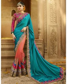 Ombre Orange & Deep Turquoise Embroidered Saree