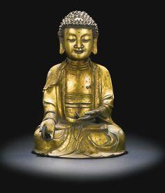 A gilt-bronze figure of Medicine Buddha, Ming dynasty, 16th-17th century