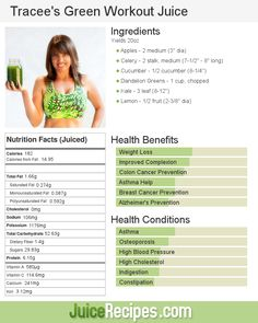 Tracee's Green Workout Juice – Juice Recipes Healthy Juices, Healthy Smoothies, Healthy Drinks, Detox Juices, Green Smoothies, Healthy Food, Detox Smoothies, Healthy Detox, Detox Drinks