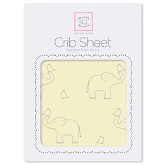 Cozy Cotton Flannel Fitted Crib Sheet - Sterling Elephants on Sunwashed Yellow. #MadeinAmerica