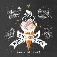 Today I'll go out and find some ice cream.Which flavors do you l… Happy Sunday! Today I'll go out and find some ice cream.Which flavors do you love? Ice Cream Menu, Ice Cream Logo, Ice Cream Poster, Ice Cream Art, Ice Cream Design, Ice Cream Brands, Cream Tea, Ice Cream Parlor, Menu Design