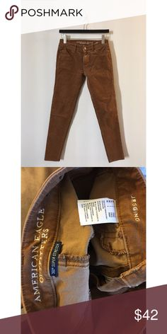 American Eagle Outfitters- Cord x4 Jegging American Eagle Corduroy Jegging in a tan burnished brown color.  Super cute for fall.  Size: 2 Short.  I just don't like how this color looked on me :) American Eagle Outfitters Jeans Skinny