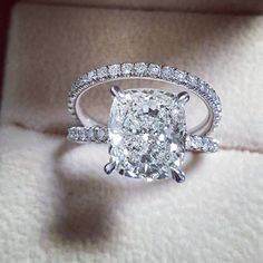 Gorgeous cushion cut engagement ring with pave' diamond band and matching wedding band. All diamonds are lab created diamond. GIA certified diamonds and clarity Dream Engagement Rings, Engagement Ring Cuts, Wedding Engagement, Solitaire Engagement, Solitaire Diamond, Matching Wedding Bands, Cushion Cut Diamonds, Cushion Diamond, Cushion Cut Rings