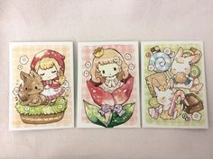 Adorable ATCs: Little Red and wolf, Thumbelina, and Hansel & Gretel as bunnies!