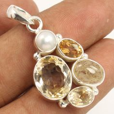 925 Solid Sterling Silver Natural CITRINE & Other Gemstones New Fashion Pendant #Unbranded #Pendant