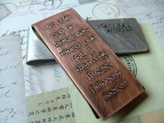 Dave Ramsey would approve. Dave Ramsey Plan, Paying Off Mortgage Faster, Debt Free Living, Financial Peace, Fancy Cars, Save Your Money, Money Clip, Hand Stamped, Copper