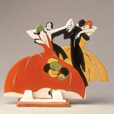 Clarice Cliff: Age of Jazz. 1930. These figures may have been placed around the wireless during broadcasts of dance music.