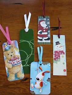 so simple - bookmarks from used greeting cards - do this for the library