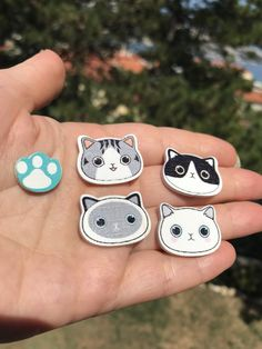 Cat earrings, cat lover gifts, cat face studs for girlfriend, black cat earrings clip on, wood earrings for girls, animal crossing earrings