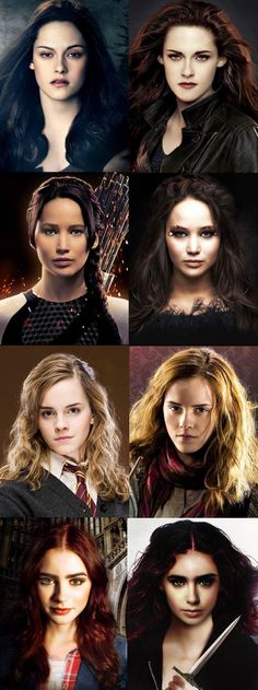 Emma Watson (Hermione Granger), Jennifer Lawrence (Katniss Everdeen), Kristen Stewart (Bella Swan) and Lily Collins (Clary Fray) Bella doesn't deserve to be up here with the some of the great no offense to anyone. Harry Potter Hermione, Harry Potter Memes, Hermione Granger, Harry Potter Makeup, Lily Collins Peliculas, Tribute Von Panem, Jenifer Lawrence, Jennifer Lawrence Hunger Games, Katherine Mcnamara