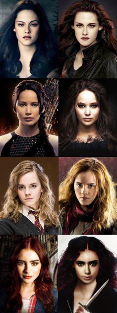 Emma Watson (Hermione Granger), Jennifer Lawrence (Katniss Everdeen), Kristen Stewart (Bella Swan) and Lily Collins (Clary Fray)