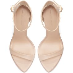 Zara Leather High Heel Sandal (50 BRL) ❤ liked on Polyvore featuring shoes, sandals, heels, zara, sapatos, nude, leather heeled sandals, nude leather shoes, leather shoes and leather footwear