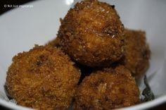 Arancini (deep fried rice balls) with ham, fontina cheese and sage at ...