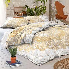 Indian Gold Ombre Mandala Duvet Cover Comforter Doona Queen Bohemian Bedding…