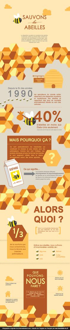 Save the Bees - Original infographic by www.brianneboland.com translated into French by we.translate-to.fr