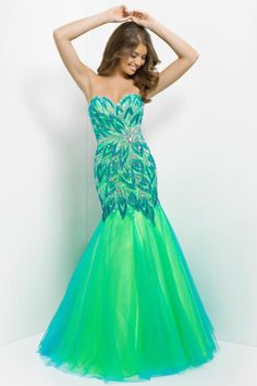 2014 Prom Dresses Mermaid Green Color Size 4 8 12 Zipper Up  Cheap Under200