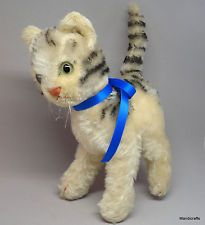 Steiff Lizzy Tabby Cat Standing Mohair Plush 22cm 9in Glass Eyes 1968 -76 no ID