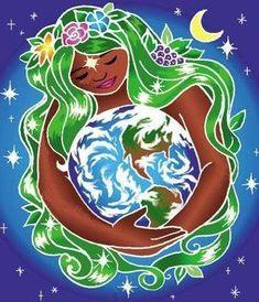 Goddess Gaia caressing earth statues, Gaia blessing earth, mother goddess and Peace Goddess statue Gaia, Meditation, Love The Earth, World Environment Day, Goddess Art, Earth Goddess, Earth Day, Wiccan, Illustration