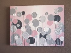 Nursery Wall Art, Pink with Grey Textured Flowers