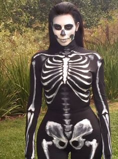 SKELETON: Show off your curves without showing any flesh in this skeleton costume worn by Kim Kardashian West. Get the look with a black body suit decorated with white paint. Get more Halloween inspiration from your favorite celebs here!