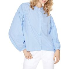 Sanctuary Danni Balloon Sleeve Shirt (1 085 ZAR) ❤ liked on Polyvore featuring tops, baby pinstripe, button up shirts, blue stripe shirt, blue button down shirt, pinstripe shirt and blue pinstripe shirt