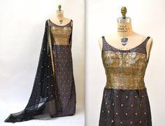 50s Vintage Evening Gown Medium Black Gold Metallic Tapestry Silk Sari// 1950s Vintage Dress Evening Gown Max Von Waldec Black Cape Dress