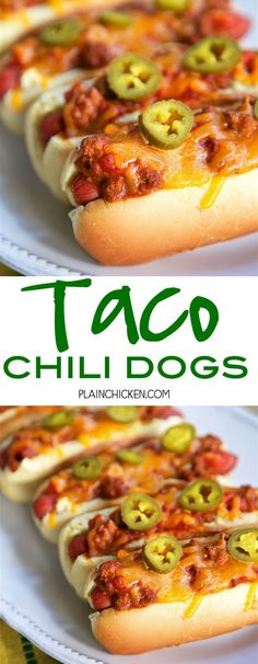 Taco Chili Dogs - hot dogs topped with a quick homemade taco chili and cheddar cheese. Hamburger, taco seasoning, tomato sauce, water and Rotel tomatoes. Can make chili ahead of time and reheat when ready to make the Taco Chili Dogs. Hot Dog Recipes, Pork Recipes, Mexican Food Recipes, Great Recipes, Cooking Recipes, Recipe Ideas, Hot Dog Chili, Chili Dogs, Hot Dog Sauce