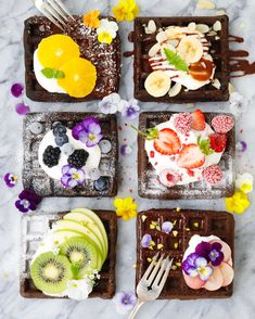Sweet rice flour chocolate waffles topped with cream and fruits. Waffle Toppings, Waffle Recipes, Cute Food, Yummy Food, Fluffy Cupcakes, Breakfast And Brunch, Chocolate Waffles, Tumblr Food, Pancakes And Waffles