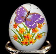 Hand-Painted-Egg-Art. Designs by Margit Jakab. Blue Butterfly
