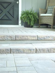 paver patio and steps to cover an old concrete slab