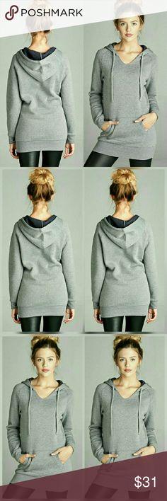 NEW ARRIVAL NWT HEATHER GREY TUNIC HOODIE Heather grey Inner brushed hoodies with kangaroo pocket. 60%Cotton 40%polyester. angelochekk boutique  Tops Sweatshirts & Hoodies