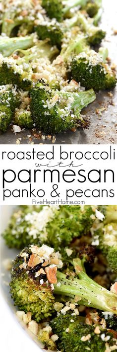 Roasted Broccoli with Parmesan, Panko, & Pecans ~ oven roasting turns plain broccoli into something special, and a crunchy, garlicky, toasty topping takes it to the next level in this delicious side dish that's perfect for holiday meals or regular weeknight dinners! | FiveHeartHome.com